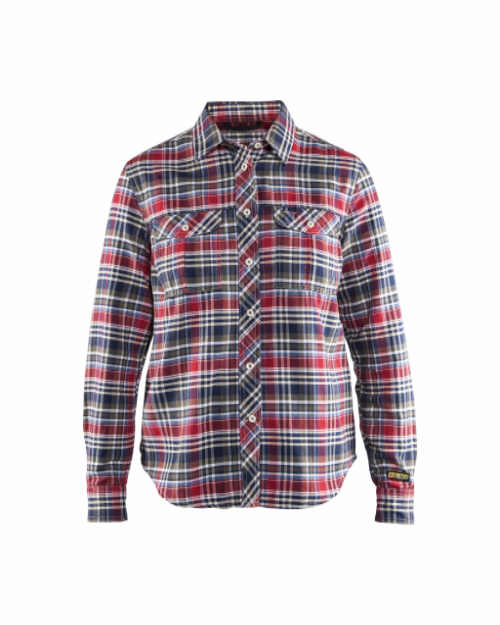 Blaklader 3209 ladies flannel shirt navy red for Navy blue and red flannel shirt