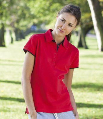 Front Row Womens Contrast Pique Polo FR201