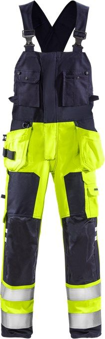 Fristads Flamestat High Vis Bib'N'Brace CL 2 1075 ATHS (Hi Vis Yellow/Navy)