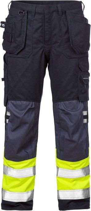 Fristads Flamestat High Vis Craftsman Trousers CL 1 2074 ATHS (Hi Vis Yellow/Navy)