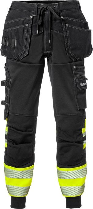 Fristads High Vis Craftsman Jogger Work Trousers Class 1 2519 SSL (Hi Vis Yellow / Black)