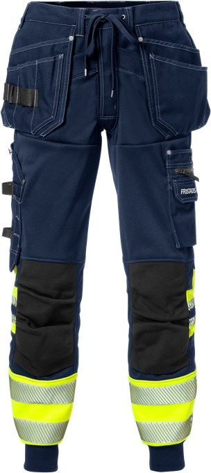 Fristads High Vis Craftsman Jogger Work Trousers Class 1 2519 SSL (Hi Vis Yellow / Navy)