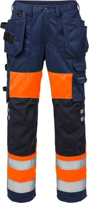 Fristads High Vis Craftsman Trousers Woman CL 1 2129 PLU (Hi Vis Orange/Navy)