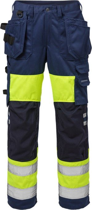 Fristads High Vis Craftsman Trousers Woman CL 1 2129 PLU (Hi Vis Yellow/Navy)