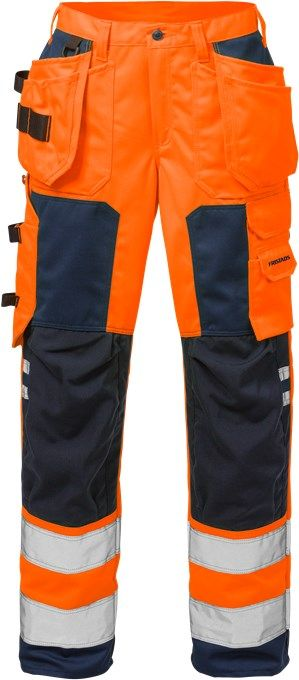 Fristads High Vis Craftsman Trousers Woman CL 2 2125 PLU (Hi Vis Orange/Navy)