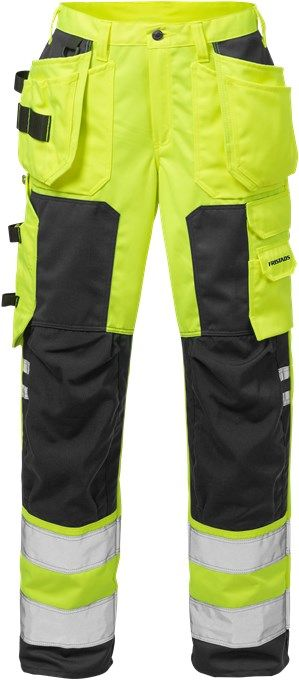 Fristads High Vis Craftsman Trousers Woman CL 2 2125 PLU (Hi Vis Yellow/Black)