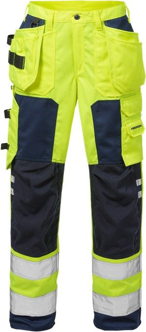 Fristads High Vis Craftsman Trousers Woman CL 2 2125 PLU (Hi Vis Yellow/Navy)