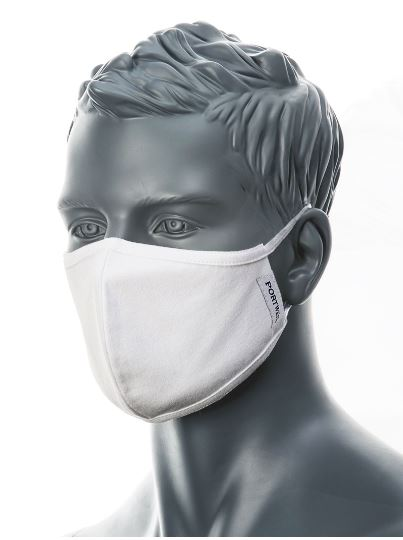 Portwest CV21 - 2-Ply Fabric Face Mask | White | TuffShop.co.uk