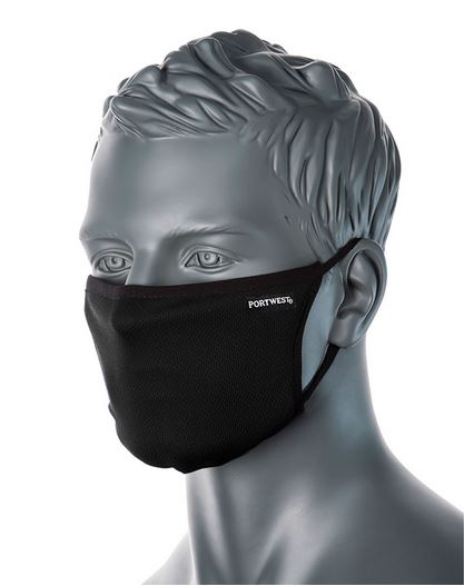 Portwest CV33 - 3-Ply Anti-Microbial Fabric Face Mask | Black | TuffShop.co.uk