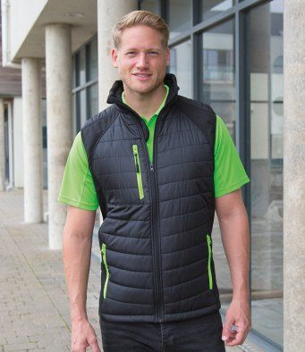 Result Black Compass Padded Gilet Contrast Bodywarmer RS238