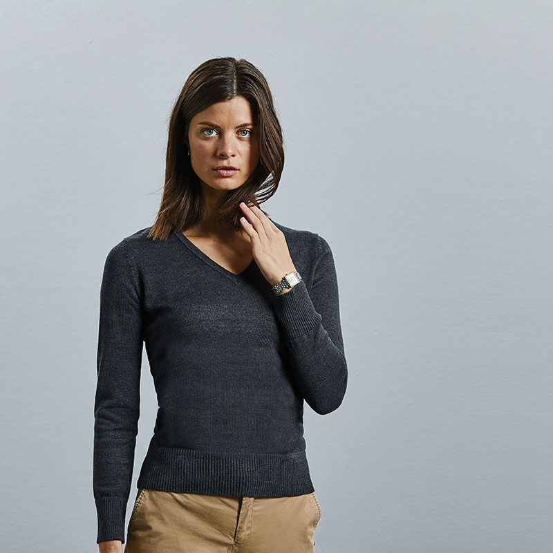 Russell 710F Ladies Cotton Acrylic V Neck Sweater