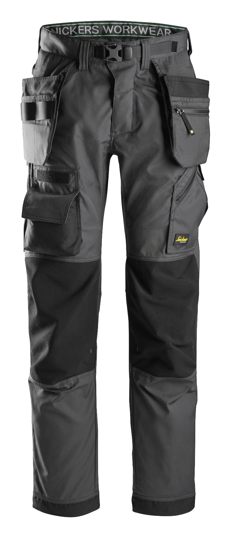 exclusive shoes most fashionable good service Snickers FlexiWork 6923 Floorlayer Work Trousers with Holster Pockets  (Steel Grey / Black)