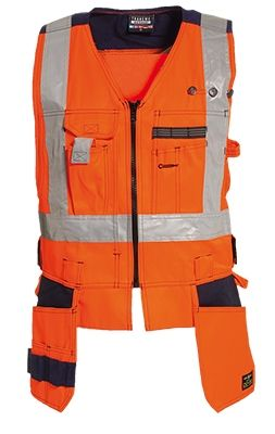 Tranemo 4860 CE-ME Craftsman Waistcoat (High Vis Orange/Navy)