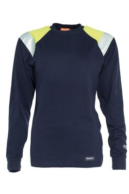 Tranemo 6373 Ladies T-Shirt Long Sleeve (Navy/High Vis Yellow)
